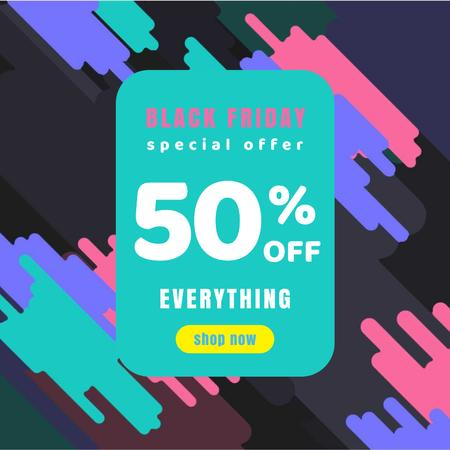 Plantilla de diseño de Black Friday Offer on Colourful simple pattern Animated Post