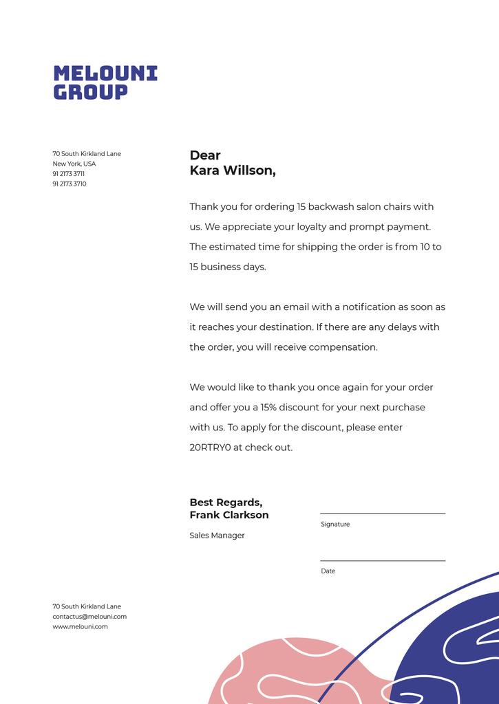 Business Company order confirmation and gratitude Letterhead Design Template