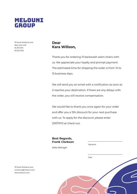 Modèle de visuel Business Company order confirmation and gratitude - Letterhead