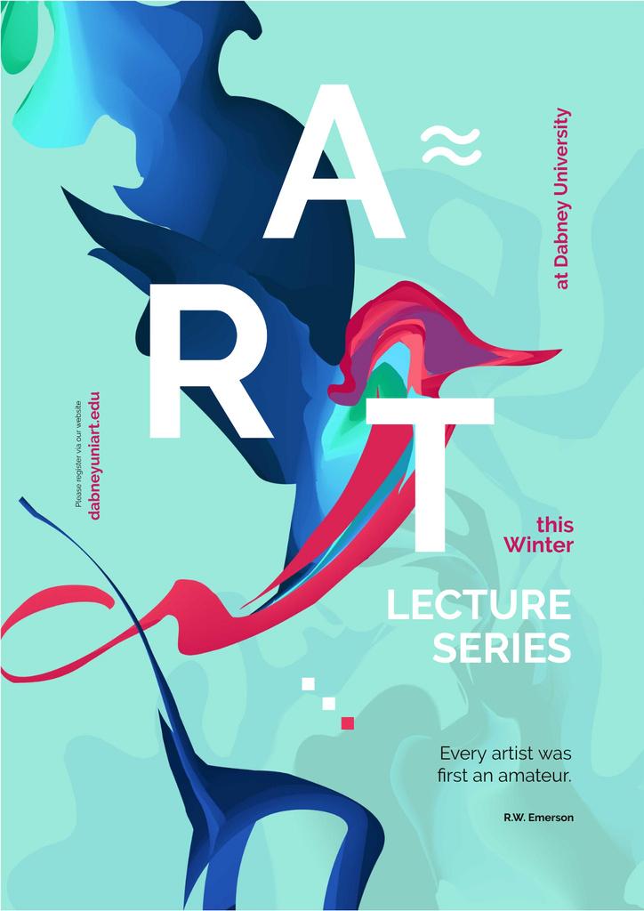 Art Lectures Announcement with Colorful Paint Smudges — Modelo de projeto
