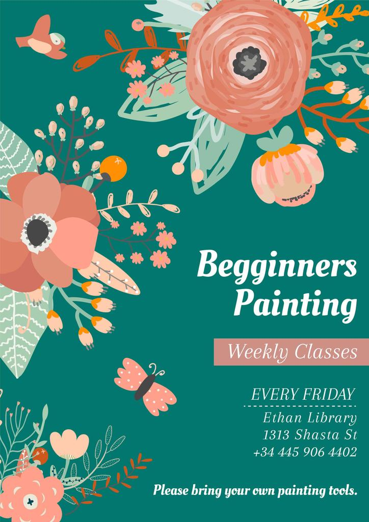 Painting Classes Ad with Tender Flowers Drawing — Créer un visuel