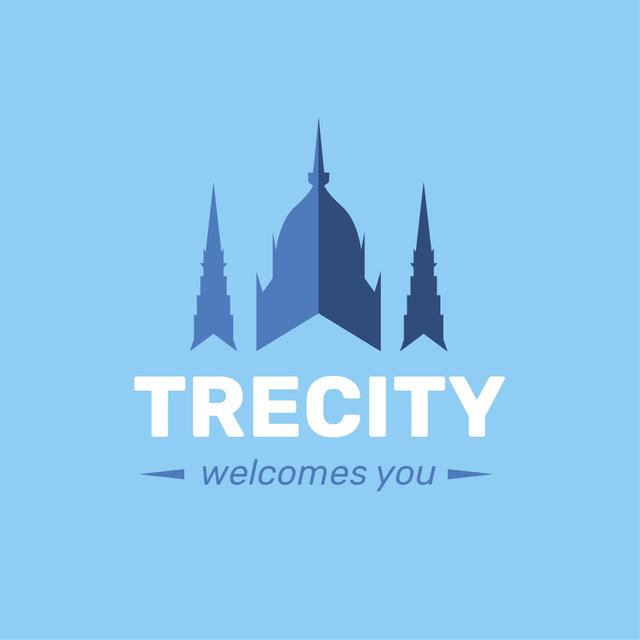 Old City Building Icon in Blue Logo Modelo de Design