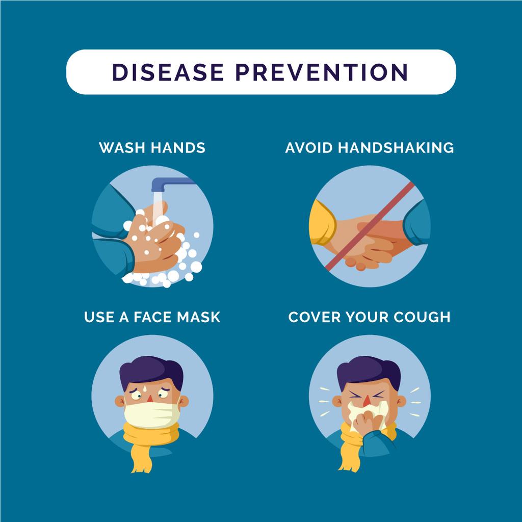Disease prevention instruction with Man sneezing - Bir Tasarım Oluşturun