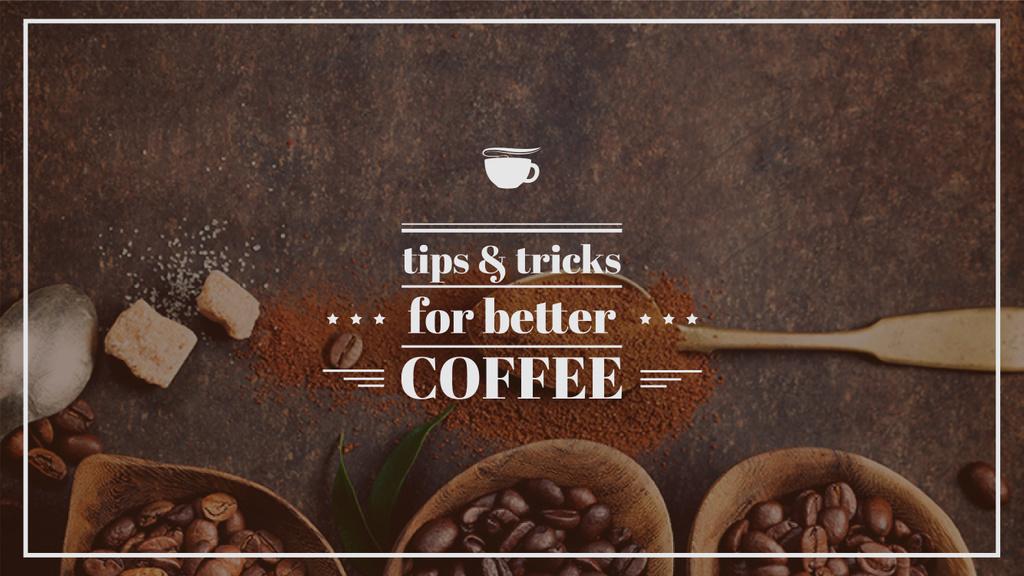 coffee beans in wooden bowls with phrase — ein Design erstellen