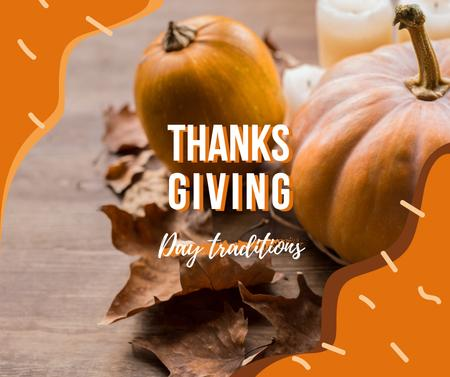 Autumn pumpkins and leaves for Thanksgiving Facebook Design Template