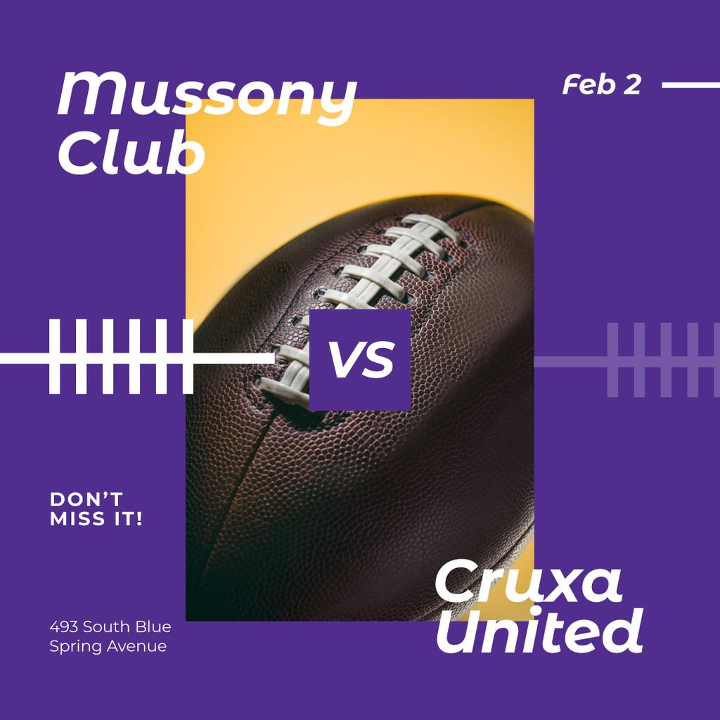 Template di design Football Match Announcement Rugby Ball Instagram