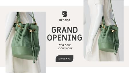 Accessories Sale woman with Green Bag FB event cover Design Template