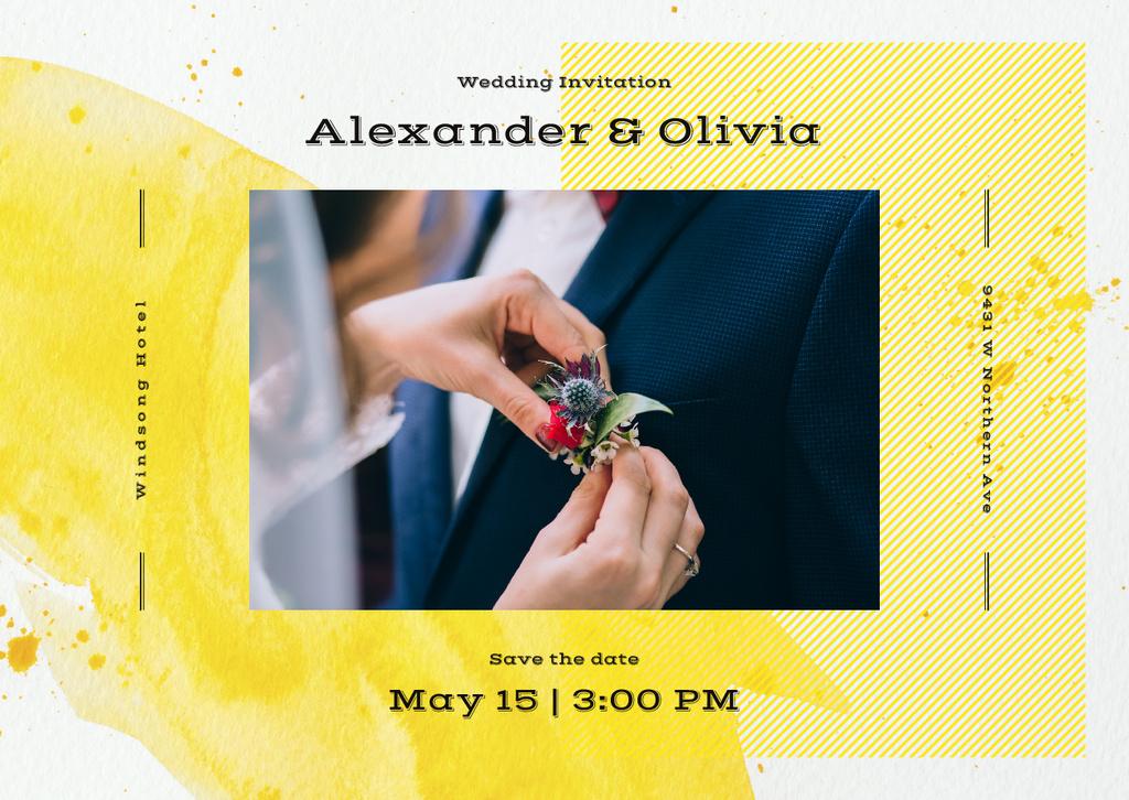 Wedding Invitation Bride Decorating Groom's Suit — Modelo de projeto