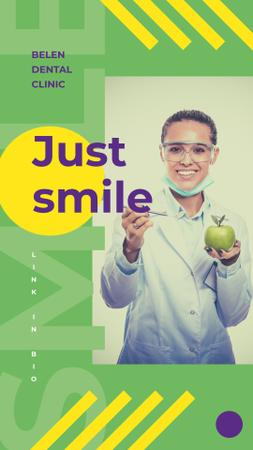 Smiling Dentist holding apple Instagram Story Modelo de Design