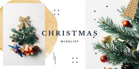 Plantilla de diseño de Stylized Christmas Tree and Gifts Twitter