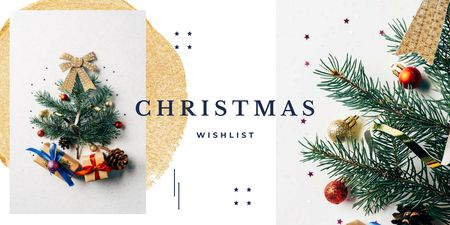 Template di design Stylized Christmas Tree and Gifts Twitter