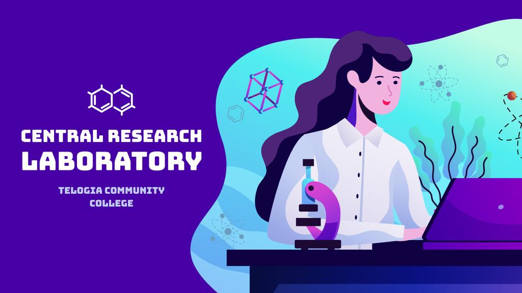 Laboratory Research Female Scientist Working on Laptop — Crea un design