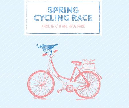 Spring cycling race announcement Facebookデザインテンプレート