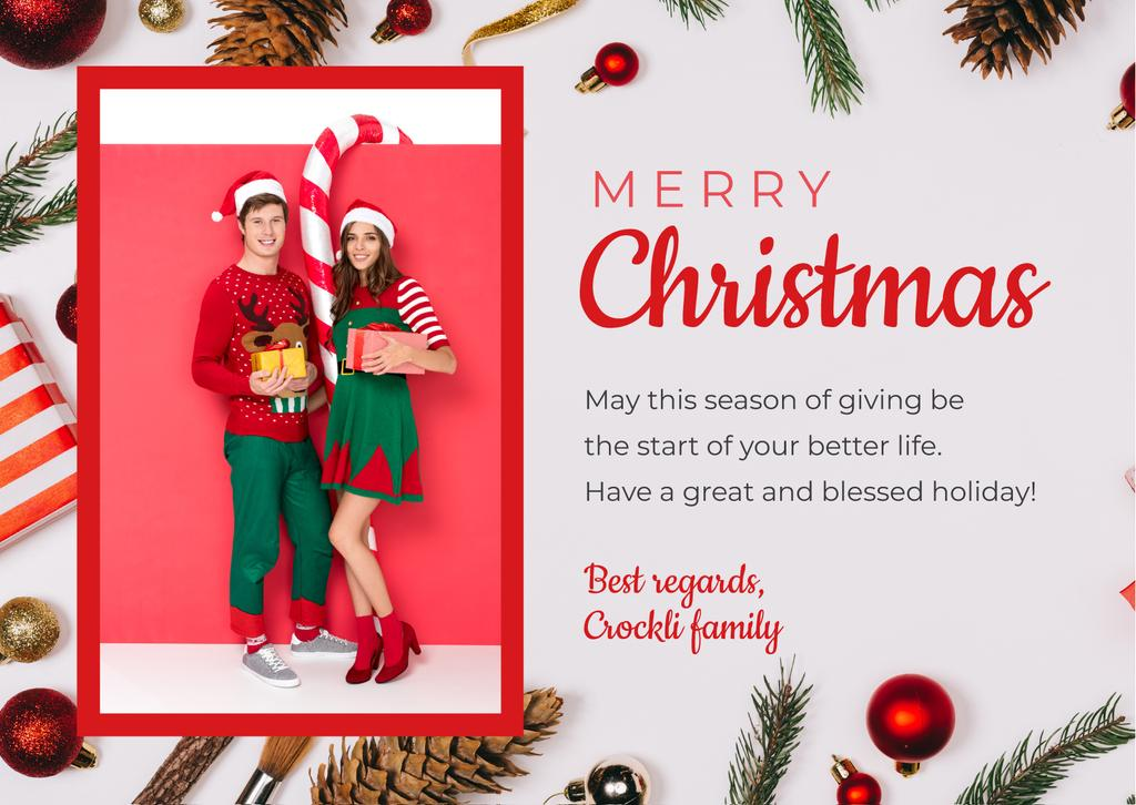 Merry Christmas Greeting Couple with Presents — Create a Design