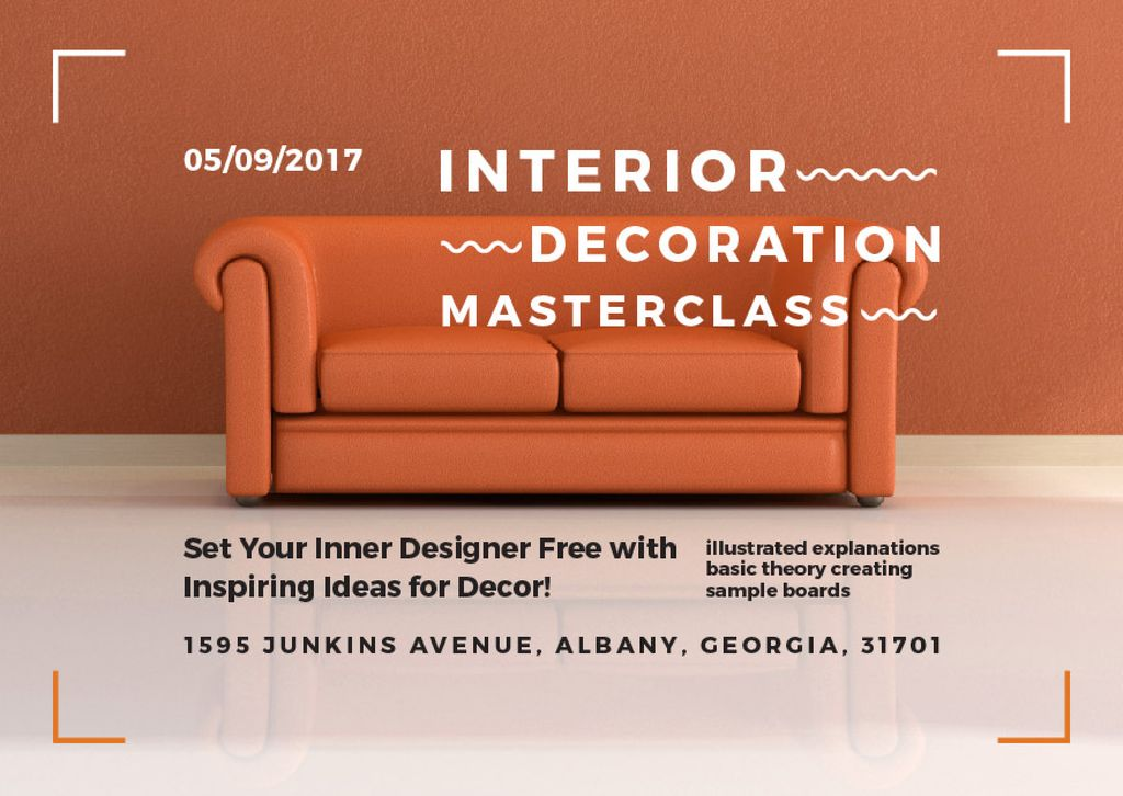 Interior Decoration Event Announcement Sofa in Red — Créer un visuel
