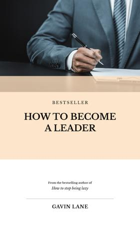 Leadership Course Businessman Signing Documents Book Cover – шаблон для дизайна