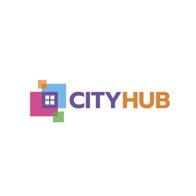 Ontwerpsjabloon van Logo van City Hub Window Concept
