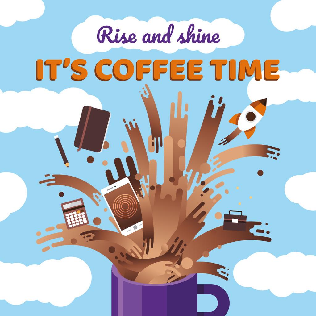 Designvorlage Creative icons in Coffee splash für Instagram AD
