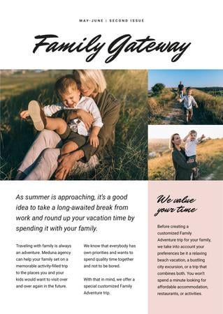 Family Vacation Activities with Happy Family on field Newsletter Modelo de Design