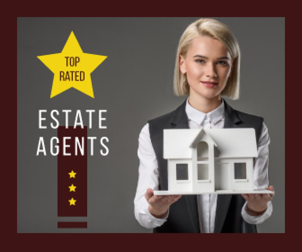 Real Estate Agent Holding House Model — Create a Design