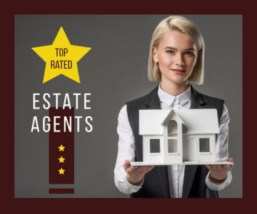 Real Estate Agent Holding House Model | Large Rectangle Template