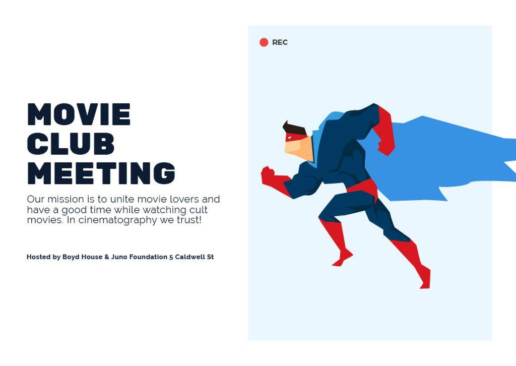 Movie Club Meeting Man in Superhero Costume Card Design Template