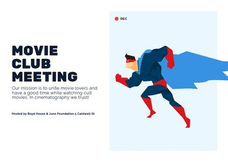 Plantilla de diseño de Movie Club Meeting Man in Superhero Costume Card