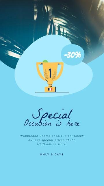 Wimbledon Sale with Trophy Cup in Blue Instagram Video Story Design Template