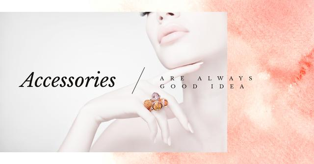 Jewelry Sale Woman in Precious Ring Facebook AD – шаблон для дизайну