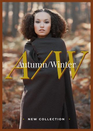 Stylish woman in winter clothes Flayer Modelo de Design