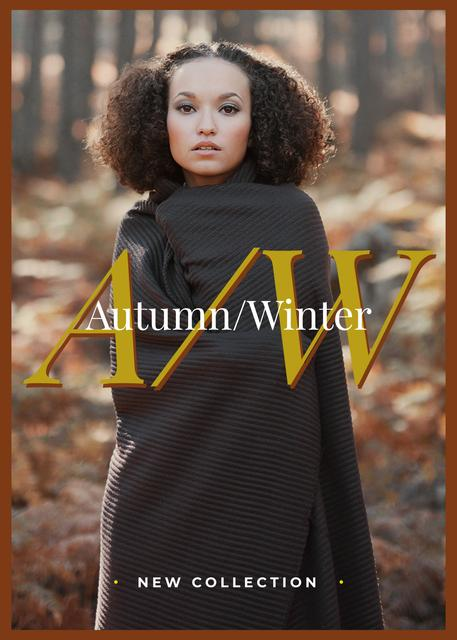 Plantilla de diseño de Stylish woman in winter clothes Flayer