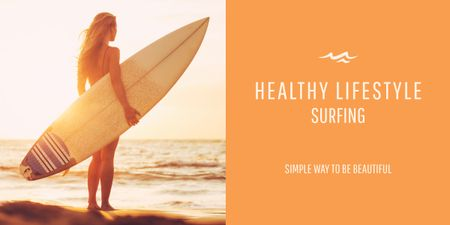 Ontwerpsjabloon van Image van Surfing lifestyle with Young Girl