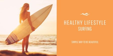 Plantilla de diseño de Surfing lifestyle with Young Girl Image