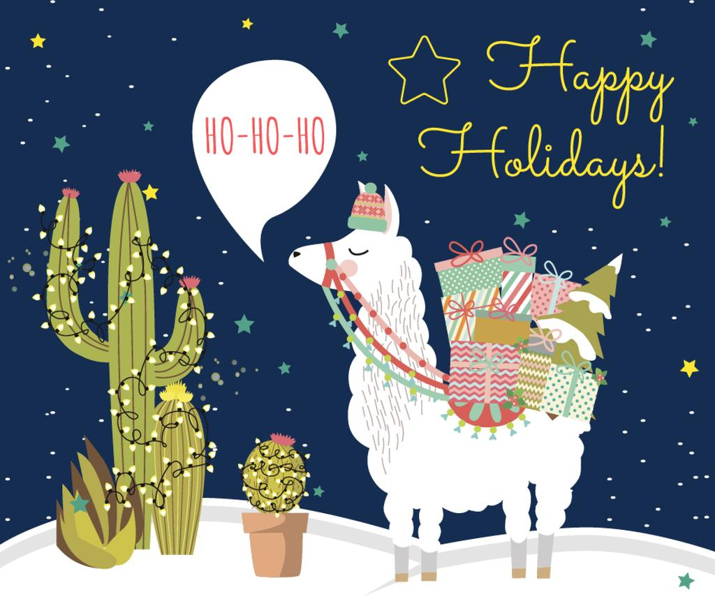 Christmas lama with gifts — Create a Design