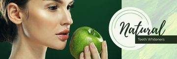 Teeth Whitening Woman Holding Green Apple