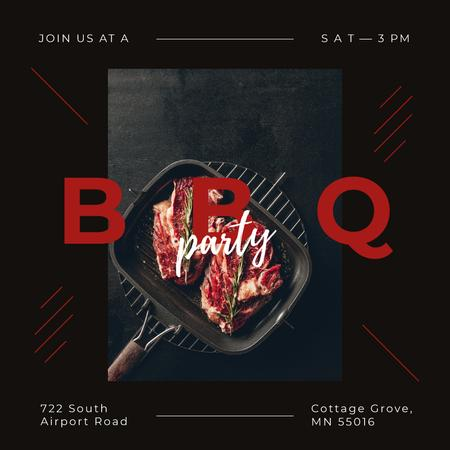 Template di design Barbecue Party with Raw meat steaks Instagram