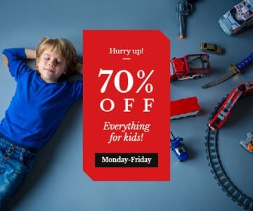 Kids' Toys Sale Boy Sleeping by Toy Train