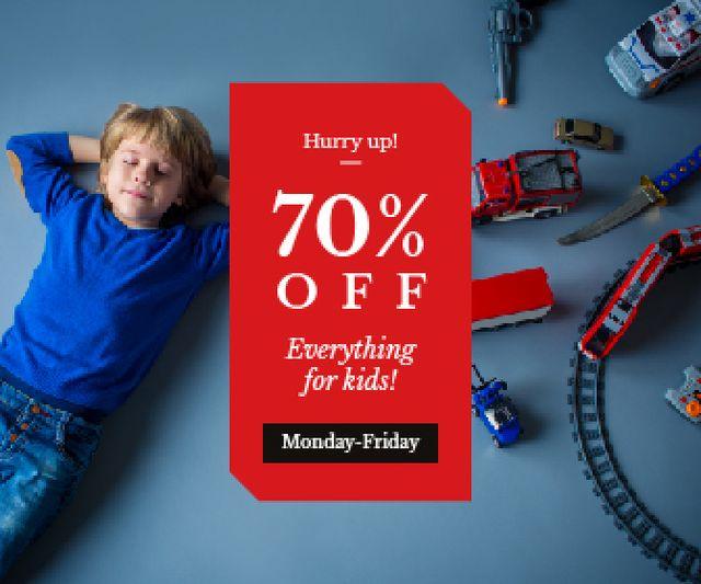 Plantilla de diseño de Kids' Toys Sale Boy Sleeping by Toy Train Large Rectangle