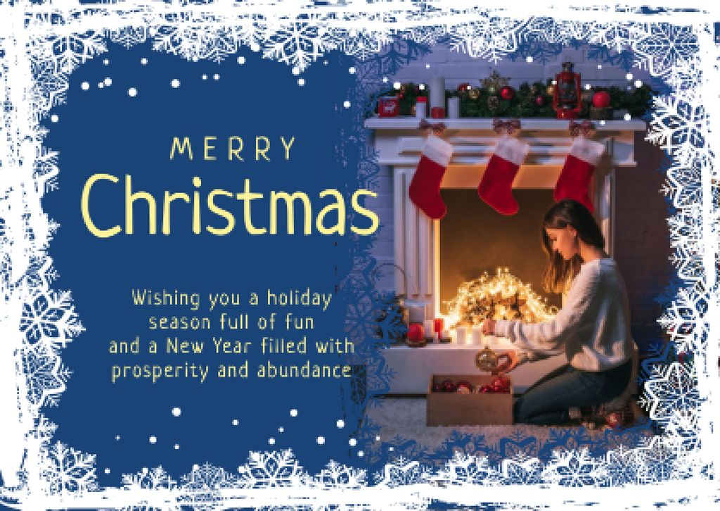 Merry Christmas Greeting Woman with Presents Card Design Template