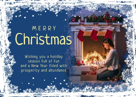 Designvorlage Merry Christmas Greeting Woman with Presents für Card