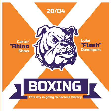 Boxing Match Announcement Bulldog on Orange Instagram AD Modelo de Design