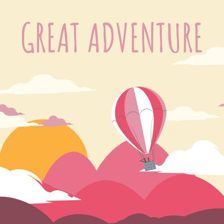 Hot Air Balloon Flying Adventure Animated Post Tasarım Şablonu