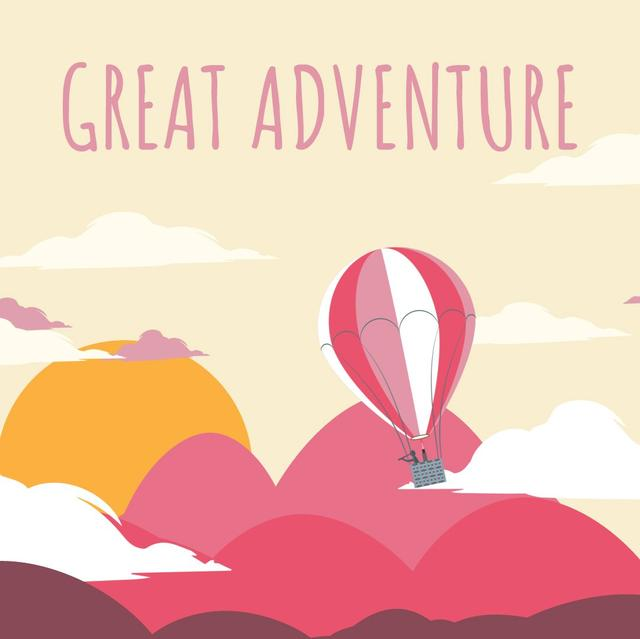 Hot Air Balloon Flying Adventure Animated Post Design Template