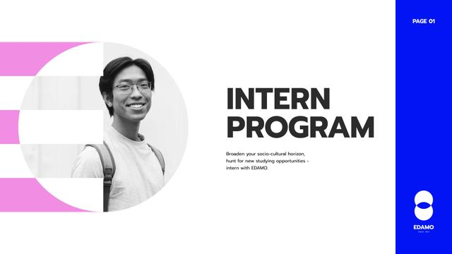 Internship Program promotion Presentation Wideデザインテンプレート