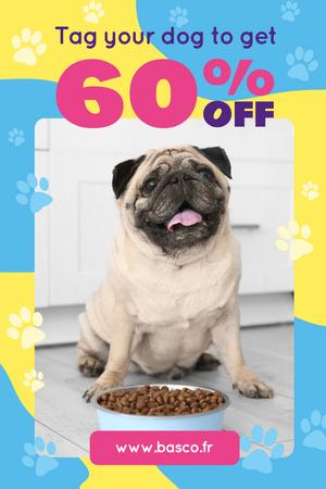 Designvorlage Pet Supplies Sale with Pug by Dog Food für Pinterest