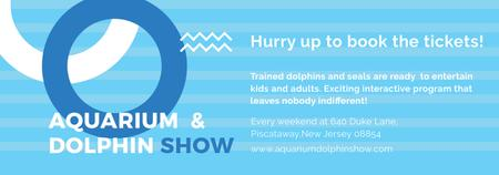 Plantilla de diseño de Aquarium Dolphin show invitation in blue Tumblr