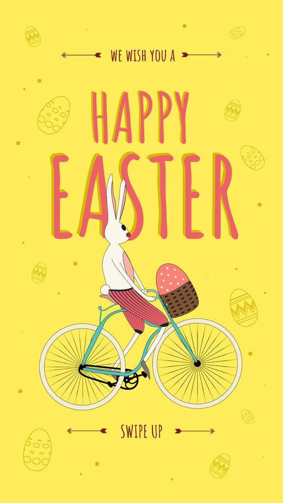 Easter Bunny riding bicycle with Egg Instagram Story – шаблон для дизайну