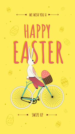 Easter Bunny riding bicycle with Egg Instagram Story Modelo de Design