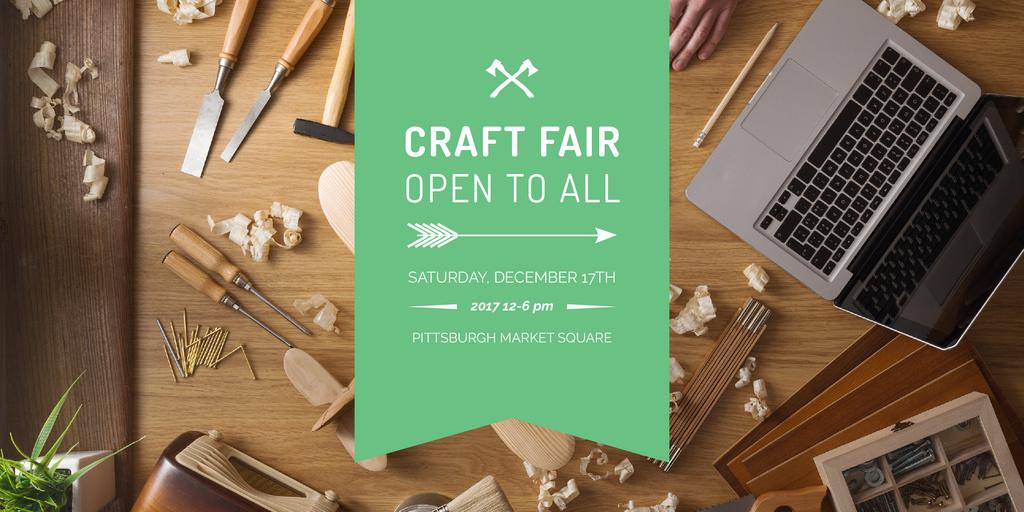 Ontwerpsjabloon van Image van Craft Fair Announcement Wooden Toy and Tools