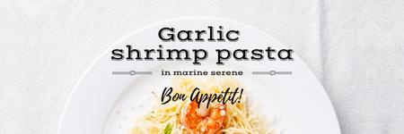 Template di design garlic shrimp pasta poster Twitter